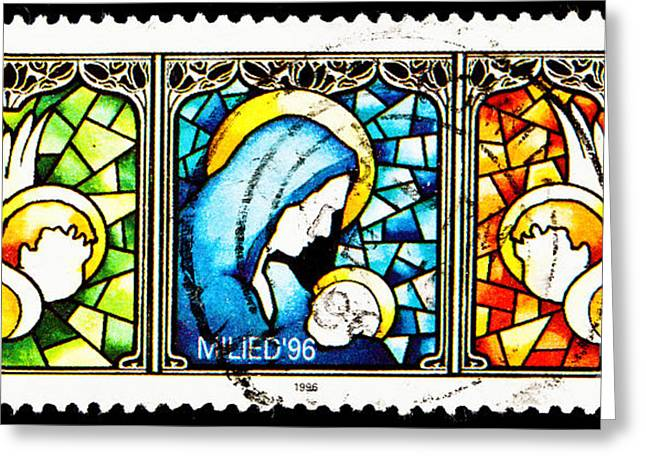 Christ Child Greeting Cards - Stained Glass  Greeting Card by Jim Pruitt