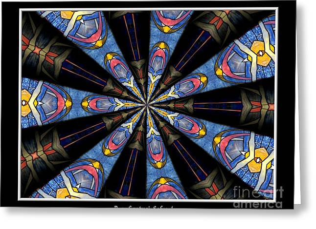 Sofranko Greeting Cards - Stained Glass Kaleidoscope 28 Greeting Card by Rose Santuci-Sofranko