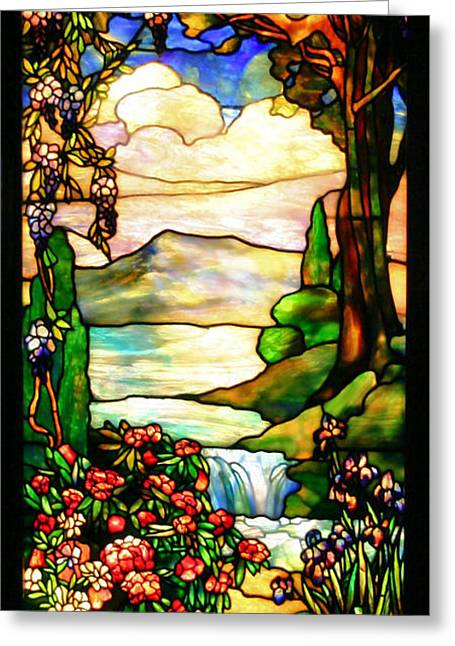 Lilac Greeting Cards - Stained Glass Greeting Card by Kristin Elmquist