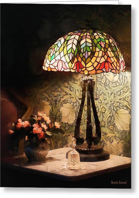 Vase Greeting Cards - Stained Glass Lamp and Vase of Flowers Greeting Card by Susan Savad