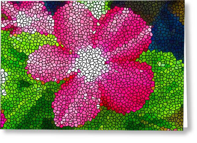 Bright Greeting Cards - Stained Glass Madagascar periwinkle 1 Greeting Card by Lanjee Chee