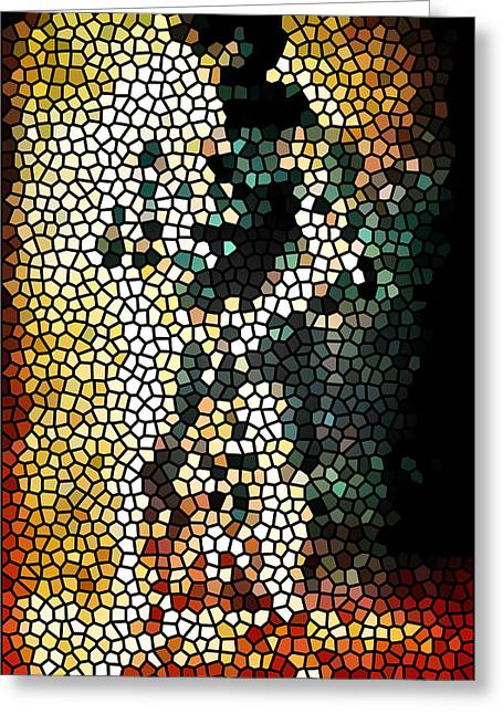 Magic Show Greeting Cards - Stained Glass Mosaic 1  Greeting Card by The  Vault - Jennifer Rondinelli Reilly