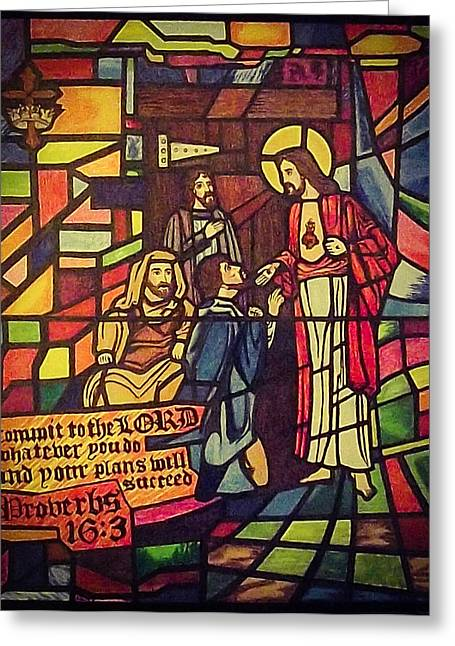 Stained Glass 3 Greeting Cards - Stained Glass Proverbs 16 Verse 3 Greeting Card by Zech Browning