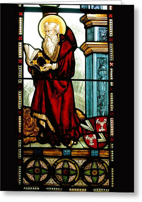 Christ Sermon Greeting Cards - Stained Glass Greeting Card by Robert Taylor