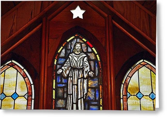 Christ Pictures Greeting Cards - Stained Glass Saviour Greeting Card by Al Powell Photography USA