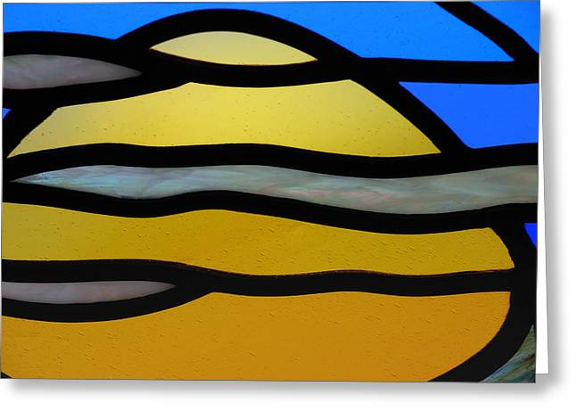 Stained Glass 3 Greeting Cards - Stained Glass Scenery 3 Greeting Card by Wendy Wilton