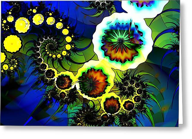 Geometric Digital Art Greeting Cards - Stained Glass Greeting Card by Sharon Lisa Clarke
