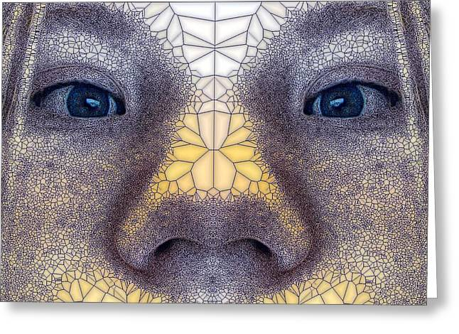 Stained Glass Stare Greeting Card by Ron Bissett