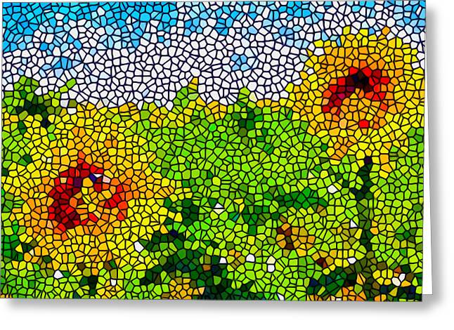 Stained Glass Sunflowers Greeting Card by Lanjee Chee