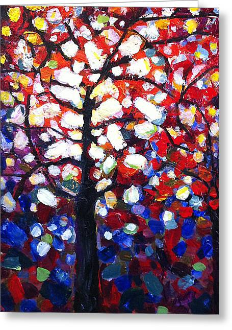Stained Greeting Cards - Stained Glass Tree Greeting Card by Mary Medrano