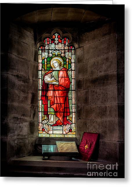 Llangernyw Greeting Cards - Stained Glass Window 2 Greeting Card by Adrian Evans