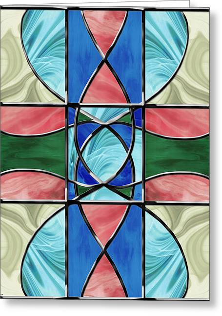 Turquoise Stained Glass Greeting Cards - Stained Glass Window 2 Greeting Card by Shawna  Rowe