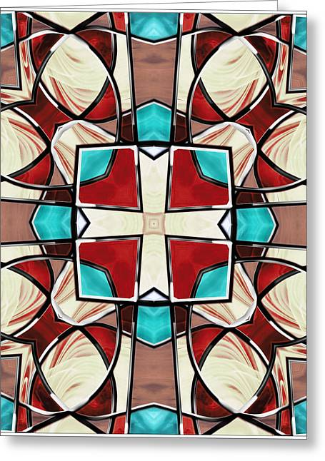 Turquoise Stained Glass Greeting Cards - Stained Glass Window 9 Greeting Card by Shawna  Rowe