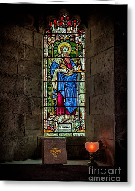 Llangernyw Greeting Cards - Stained Glass Window  Greeting Card by Adrian Evans