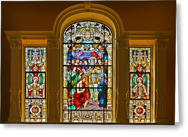 Window Panes Greeting Cards - Stained Glass Window Cathedral St Augustine Greeting Card by Christine Till
