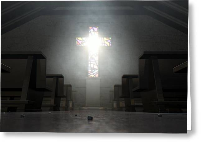 Radiates Greeting Cards - Stained Glass Window Crucifix Church Greeting Card by Allan Swart