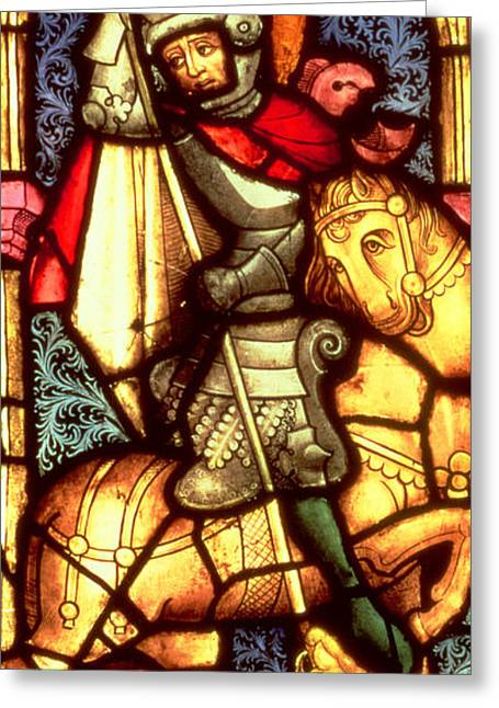 Fantasy Glass Greeting Cards - Stained Glass Window Depicting Saint George Greeting Card by German School