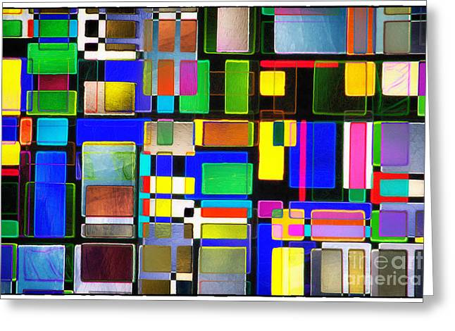 Front Room Digital Art Greeting Cards - Stained Glass Window II Multi-Coloured Abstract Greeting Card by Natalie Kinnear