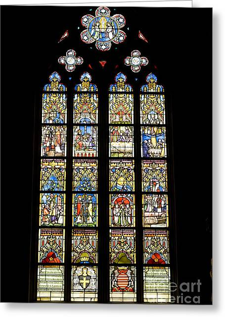 Stained Glass Window In Medieval Catholic Church Greeting Card by Patricia Hofmeester