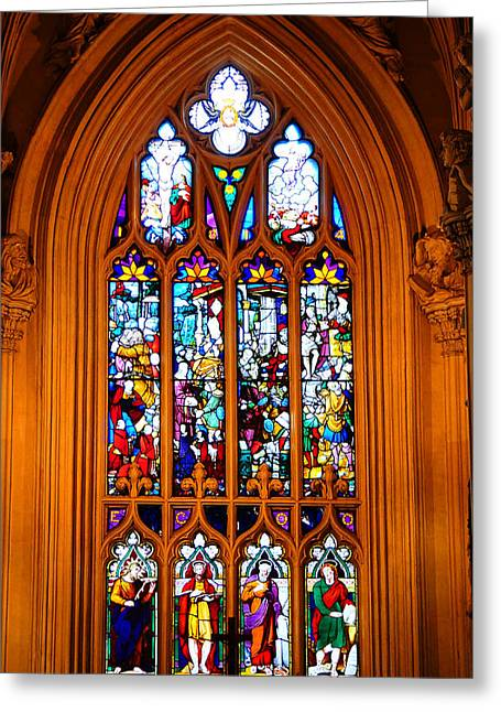 Stained Glass Ireland Greeting Cards - Stained-Glass Window in the Gothic Revival Chapel. Streets of Dublin. Gothic Collection Greeting Card by Jenny Rainbow