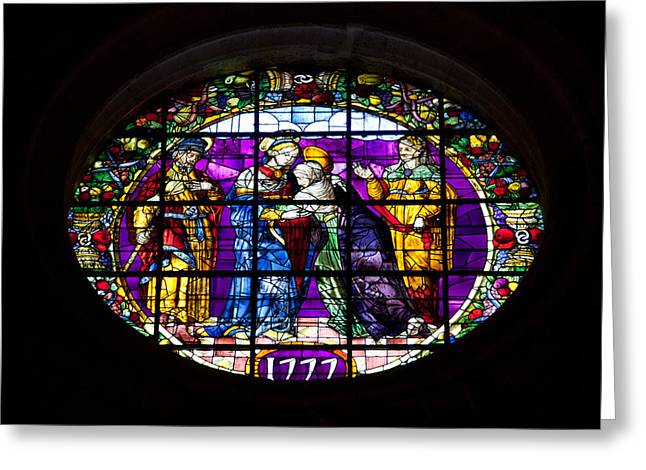 Coloured Glass Greeting Cards - Stained Glass Window in the Seville Cathedral Greeting Card by Artur Bogacki