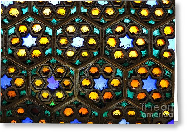 Geometric Design Photographs Greeting Cards - Stained glass window inside Junagarh Fort at Bikaner in India Greeting Card by Robert Preston