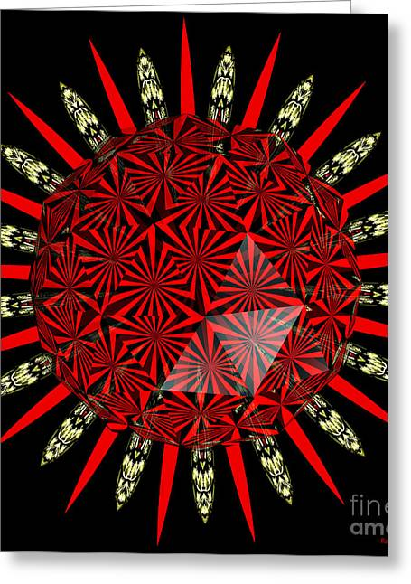 Stained Glass Window Kaleidoscope Polyhedron Greeting Card by Rose Santuci-Sofranko