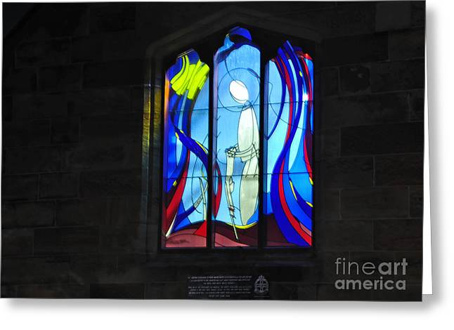 Brightness Greeting Cards - Stained Glass Window Greeting Card by Kaye Menner