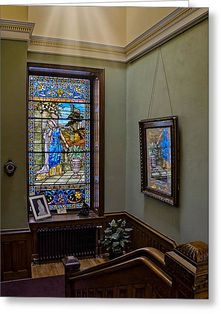 Residential Structure Greeting Cards - Stained Glass Window Memorial Greeting Card by Susan Candelario