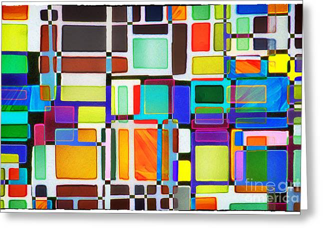 Lounge Digital Art Greeting Cards - Stained Glass Window Multi-Colored Abstract Greeting Card by Natalie Kinnear