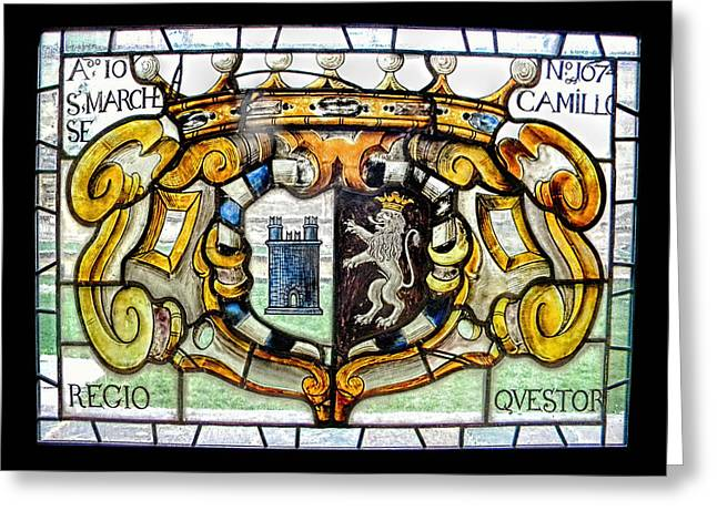 Lions Glass Art Greeting Cards - stained glass window  of a Castle Lion and Crown Greeting Card by Nicholas Romano
