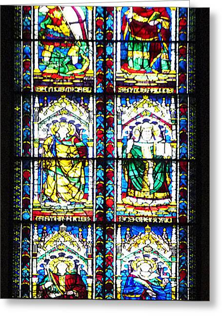 Stained Glass Window Of Santa Maria Del Fiore Church Florence Italy Greeting Card by Irina Sztukowski