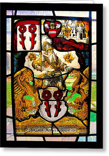 Italy Glass Art Greeting Cards - stained glass window of Two Griffins and a warrior Greeting Card by Nicholas Romano