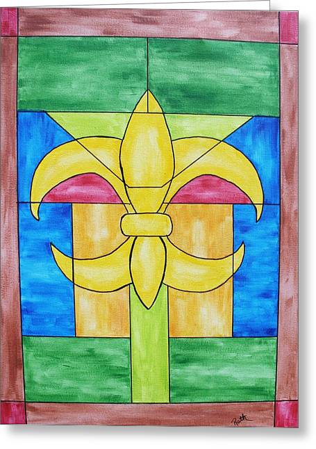 Stainglass Greeting Cards - Stained Glass Window Greeting Card by Ruth Bares