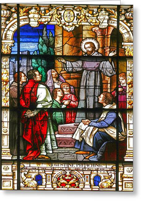 Window Panes Greeting Cards - Stained Glass Window Saint Augustine preaching Greeting Card by Christine Till