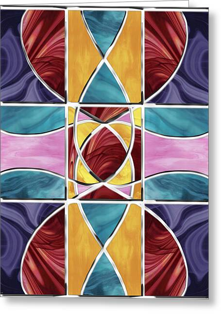 Turquoise Stained Glass Greeting Cards - Stained Glass Window Greeting Card by Shawna  Rowe
