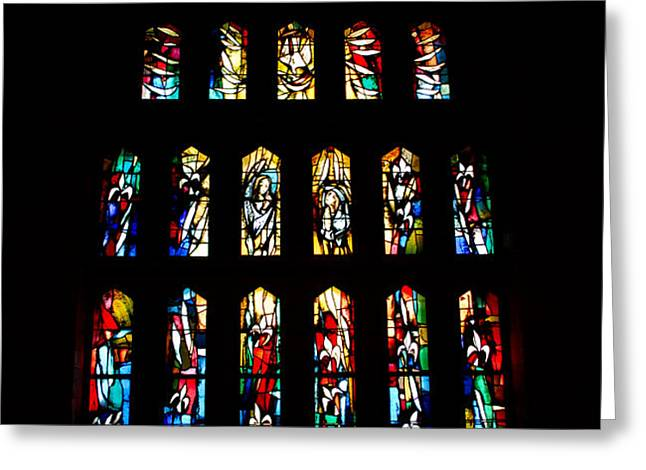 Stained Glass Windows at Basilica of the Annunciation Greeting Card by Eva Kaufman