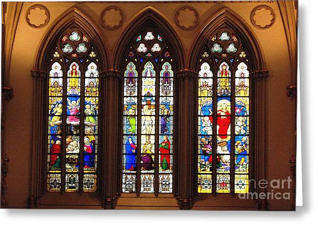 Saint Joseph Greeting Cards - Stained Glass Windows at Saint Josephs Cathedral Buffalo New York Greeting Card by Rose Santuci-Sofranko