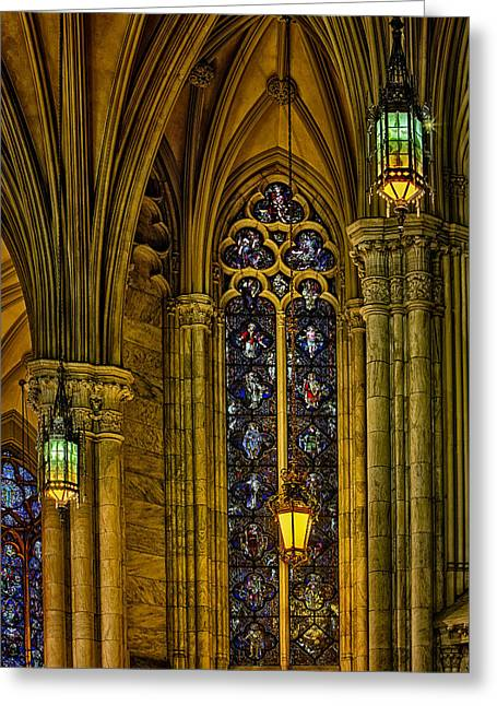 Neo-gothic-style Greeting Cards - Stained Glass Windows At Saint Patricks Cathedral Greeting Card by Susan Candelario