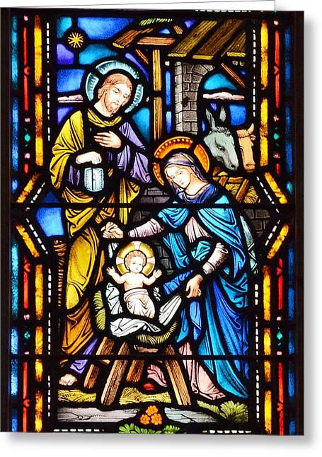 Stained Glass Greeting Cards - Stained Glass Windows at St. Edmond Church 3 - Rehoboth Beach Delaware Greeting Card by Kim Bemis