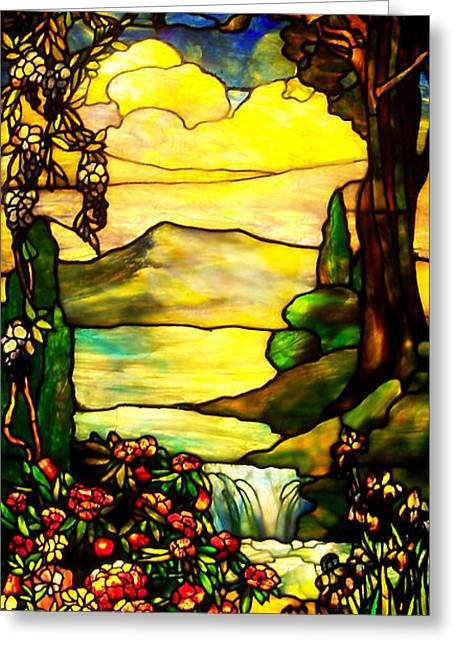 Art Glass Mosaic Greeting Cards - Stained Landscape 2 Greeting Card by Donna Blackhall