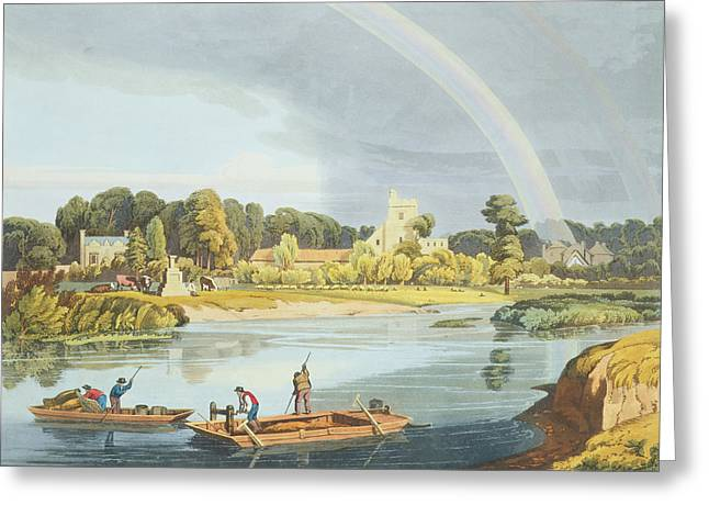 Trappers Greeting Cards - Staines Church With City Stone On Banks Greeting Card by William Havell