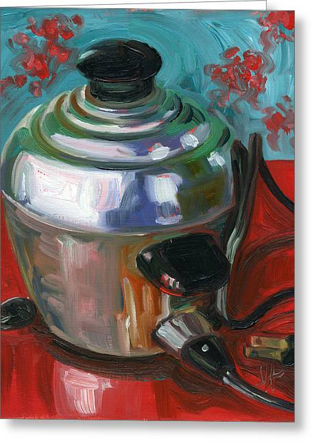 Stainless Steel Greeting Cards - Stainless Steel Cooker of Eggs Greeting Card by Jennie Traill Schaeffer