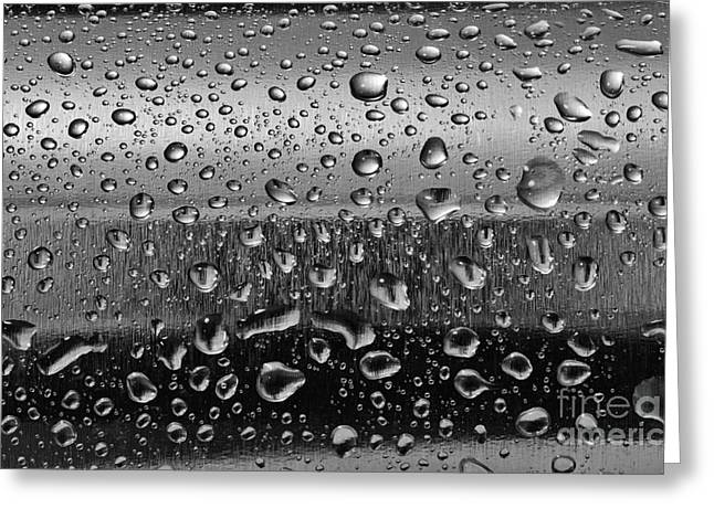 Stainless Steel Greeting Cards - Stainless steel with water drops Greeting Card by Michal Bednarek