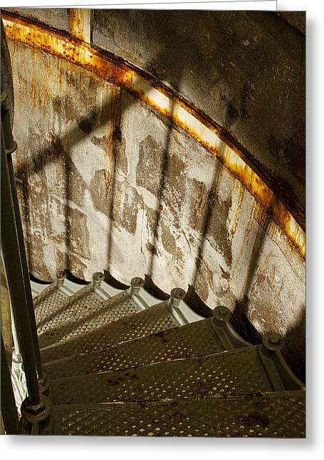 Spiral Staircase Photographs Greeting Cards - Staircase Down Greeting Card by Andrew Soundarajan