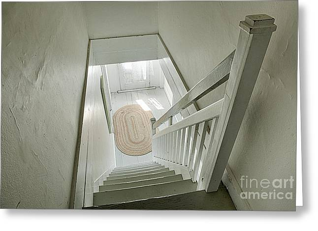 Wooden Stairs Greeting Cards - Staircase Down Greeting Card by John Greim