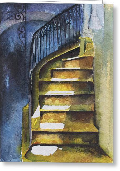 Flight Of Stairs Greeting Cards - Staircase in aleppo with blue shadows Greeting Card by Deborah Meyler