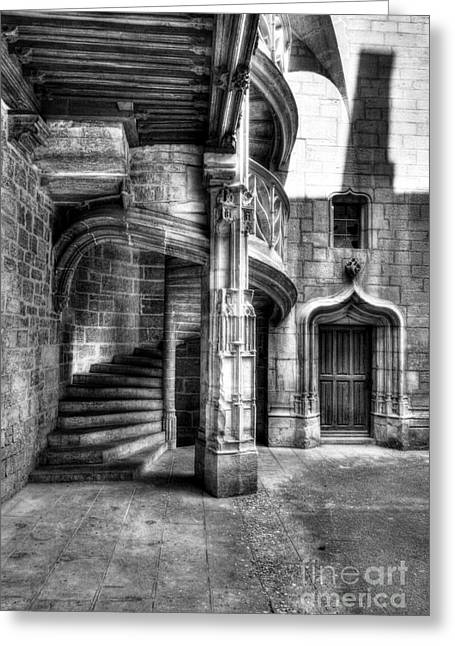 Dijon Greeting Cards - Staircase In Dijon BW Greeting Card by Mel Steinhauer