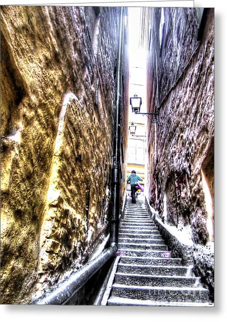 In-city Pyrography Greeting Cards - staircase in Stokholm Greeting Card by Yury Bashkin