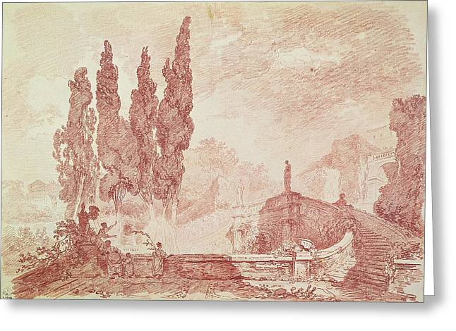Architectural Landscape Greeting Cards - Staircase In The Gardens Of The Villa Deste, Tivoli Red Chalk On Paper Greeting Card by Jean-Honore Fragonard